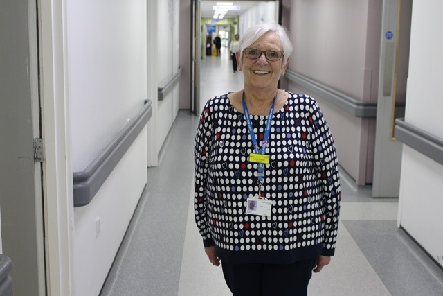 Linda volunteering at Queen's Hospital Burton