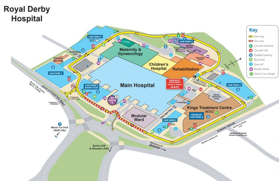 map of Royal Derby Hospital